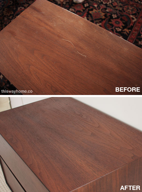 here are some closeups of the original damage that middle scratch was about 6 inches long and a few millimeters deep the top was also several shades - Refinishing Wood Table