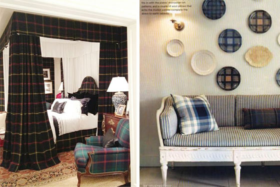 Scottish Decor Design Interior Style Plaid Plates Four Poster Bed