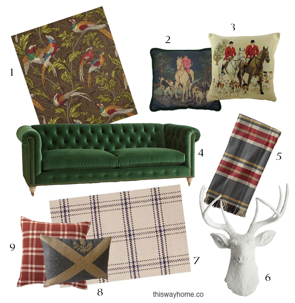 Scottish Style Decor Pheasant Wallpaper Hunting Needlepoint Pillow Plaid Blanket Throw Plaid Rug Carpet Velvet Chesterfield Couch Green Faux Taxidermy Stag Head