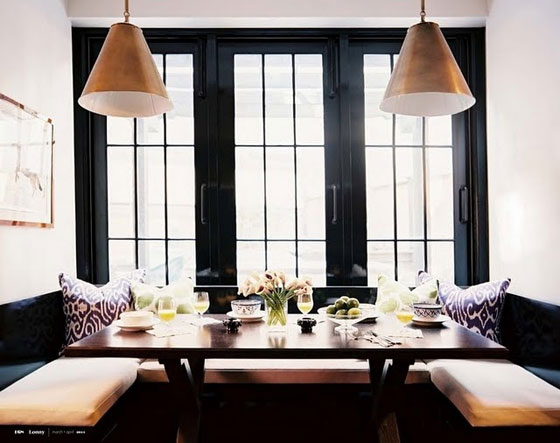 Lonny Magazine Black Molding Trim Dining Nook
