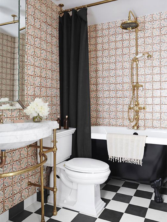 Genevieve Gorder Manhattan apartment guest bathroom moroccan tiles