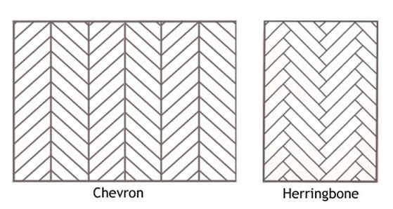 Difference between chevron and herringbone floors