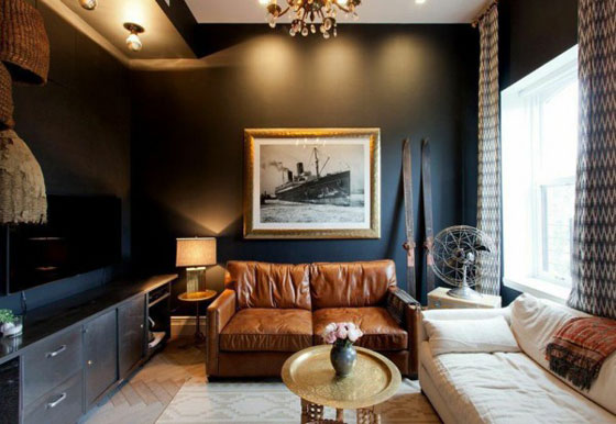 Genevieve Gorder Manhattan apartment living room black walls