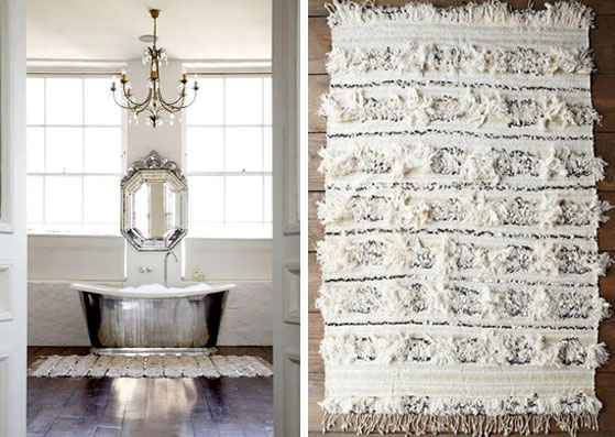 Bathroom Rug moroccan wedding blanket silver bathtub