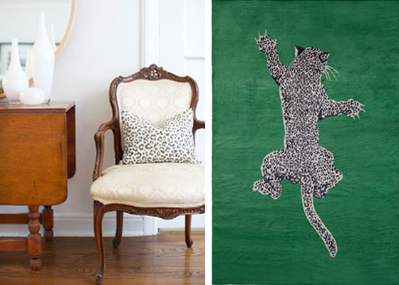 Green Emerald Rug Diane Von Furstenberg Climbing Leopard Pillow Antique Chair