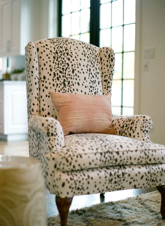 Dalmatian Print Chair Black and White Polka Dot