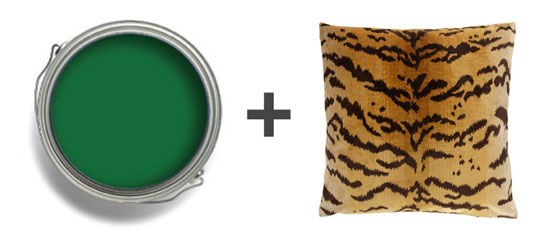 Emerald Paint Seaweed Benjamin Moore Scalamandre Tiger Tigre Pillow