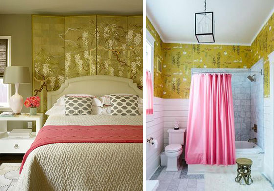 Olive Green Pink Bedroom Nina Campbell Swan Lake Wallpaper Pink Shower Curtain Natalie Clayman