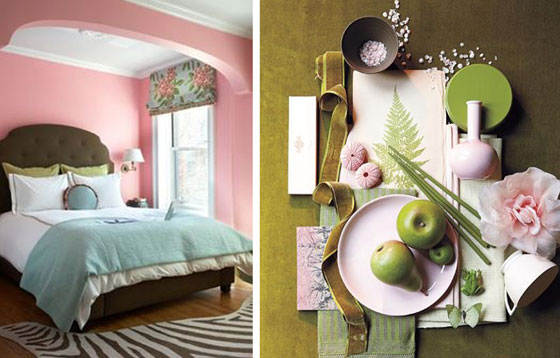 Pink Bedroom Olive Green Bed Upholstered Headboard Vignette Apples