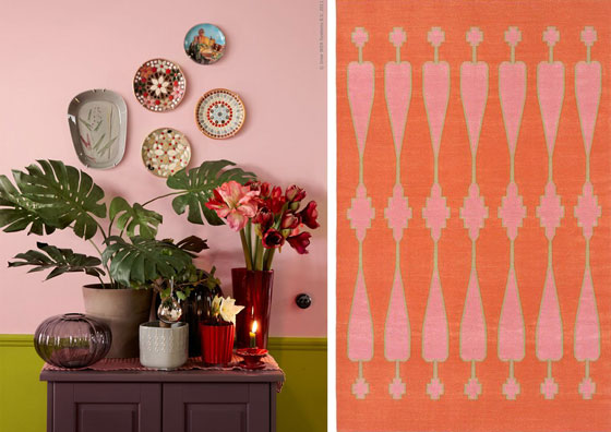 Olive Green Pink Walls Orange Tangerine Rug