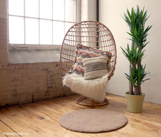 Felt Ball Rug Nepal Rattan Egg Chair Mid Century Modern Flokati Palm Plant