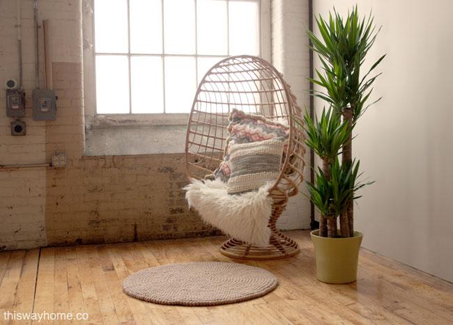 Felt Ball Rug Nepal Rattan Egg Chair Mid Century Modern Flokati Palm Plant 2