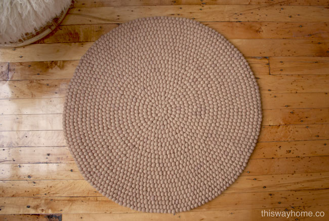 Overhead View Nepalese Felt Ball Rug