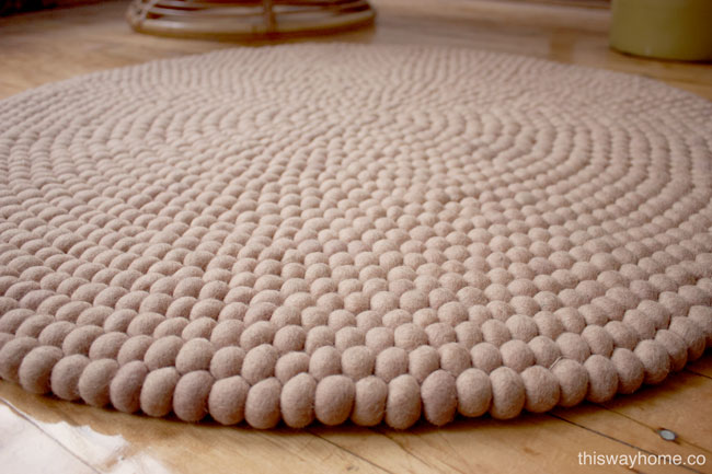 Close Up View of Nepalese Felt Ball Rug