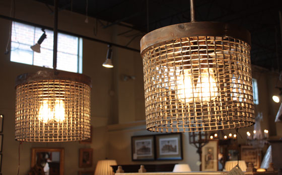 Foxglove Antiques industrial metal woven mesh grate pendant lights chandelier