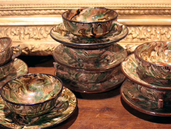 Foxglove Antiques 19th-century mixed earth cups and saucers, France