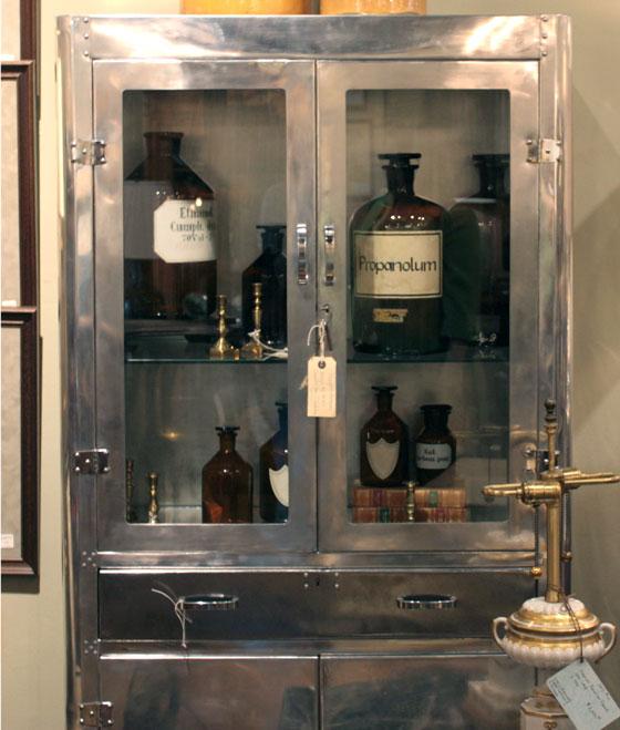 Foxglove Antiques vintage polished aluminum cabinet