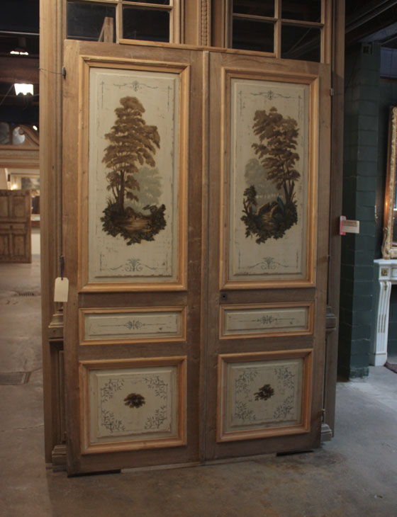 Architectural Accents Salvage Antique French painted doors circa 1870, featuring scenes from La Fontaine's Tables
