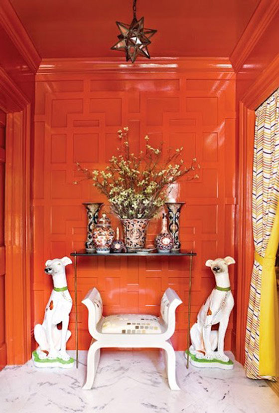 Orange Red Lacquer Lacquered Walls Atlanta Homes Magazine Chinoiserie