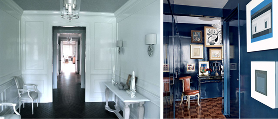White Lacquer Lacquered Walls Black Herringbone Floors Navy Blue Lacquer Miles Redd