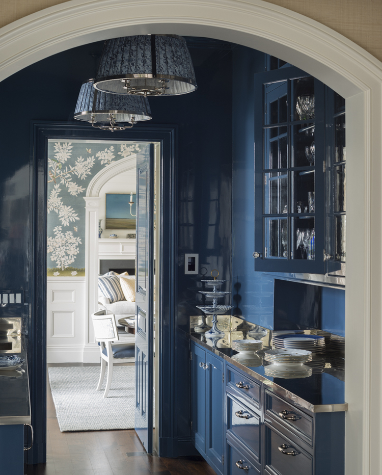 Lee Ann Thornton Coastal Peacock Blue Butler's Pantry Lacquer Lacquered Walls Cabinets