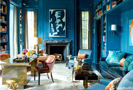 Steven Gambrel Peacock Blue Lacquer Lacquered Walls
