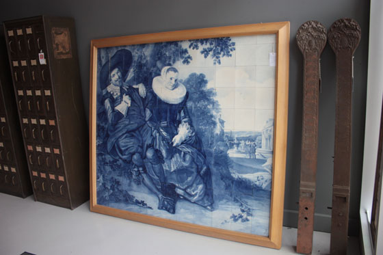 Architectural Artifacts Salvage Chicago Delft Tile Mural 19th Century Frans Hals Married Couple in a Garden Blue and White