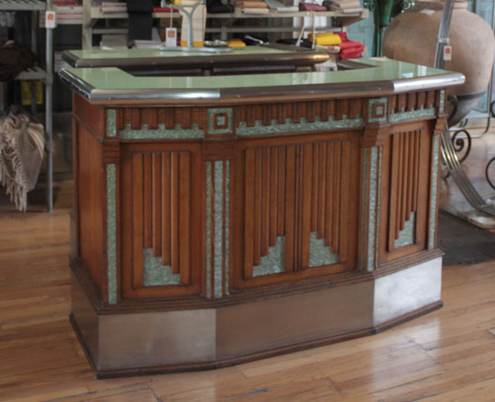 Architectural Artifacts Salvage Chicago French Art Deco Wet Bar Mint Green Turquoise Blue Chrome Geometric