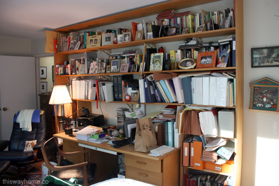 Firmdale Project This Way Home Before Bedroom Messy Chaotic Home Office Desk Open Bookshelves Bookshelf