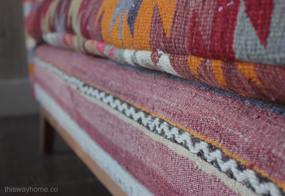 Custom Kilim Upholstery Love Seat Boho Eclectic Design