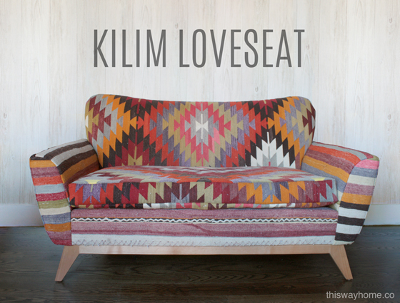 Turkish Kilim Upholstery Loveseat Couch Bohemian