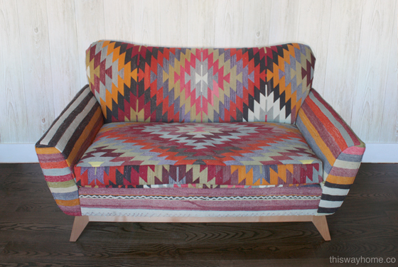 Kilim Upholstery Loveseat Sofa Bohemian Eclectic Decor