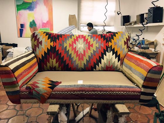 Kilim Upholstery Loveseat Sofa Bohemian Eclectic