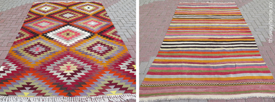 Turkish Kilim Upholstery Loveseat Couch Rug