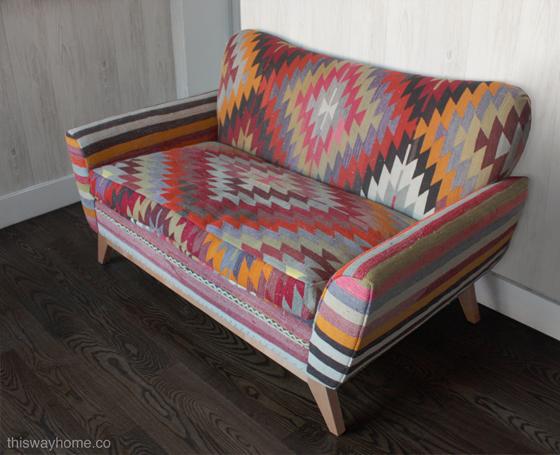 Kilim Upholstery Loveseat Sofa Bohemian Eclectic Design