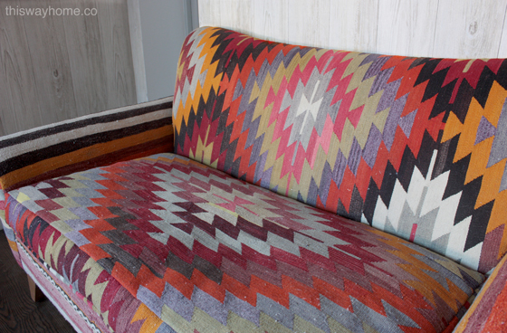Turkish Kilim Upholstery Loveseat Love Seat Sofa Couch Unconventional Upholstery Creative Upholstery Kim Salmela This Way Home Lorimer Project Williamsburg Brooklyn Bohemian Eclectic Decor