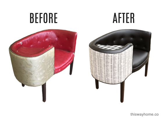 This Way Home International Furnishings and Design Association IFDA Take A Seat I'm In The Book Chair-ity Telephone Bench Black White Upholstery Gossip Bench Before After Furniture Makeover