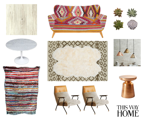Design Plan Lorimer Project This Way Home Living Dining Room Boho Bohemian Eclectic Kilim Beni Ourain