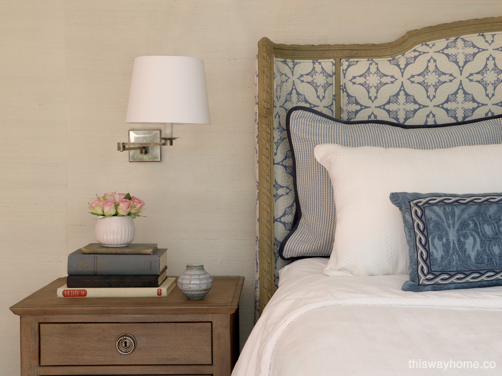 Blue white French country bedroom