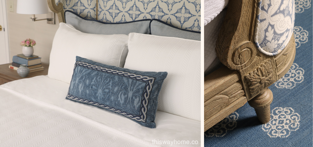 Blue white bed carpet rug bedroom