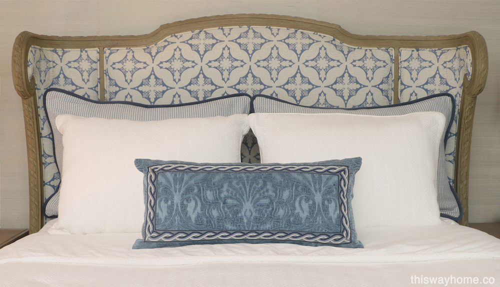 Custom upholstered bed blue white headboard
