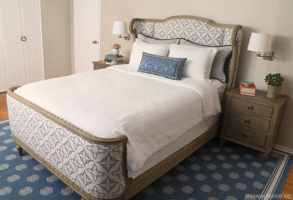 Blue white French country bedroom grasscloth
