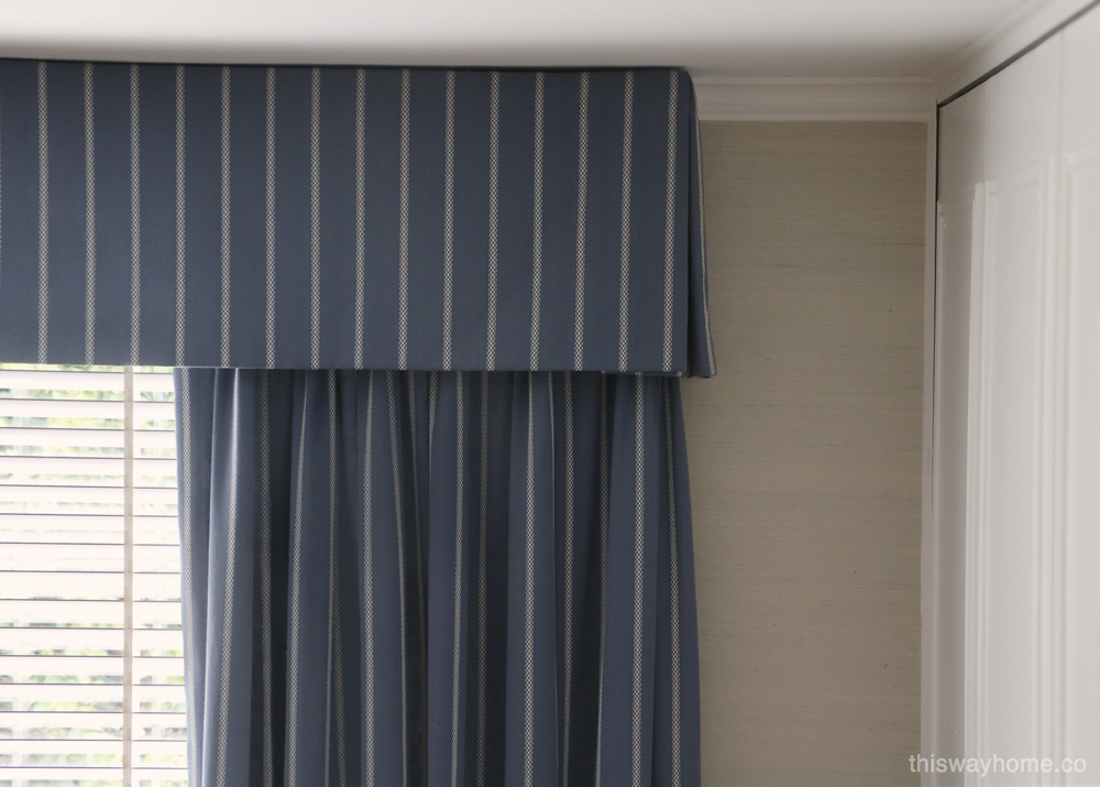 Blue white valance curtain window treatment striped