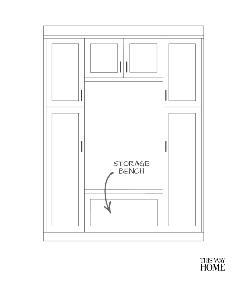 Mudroom Pantry Drawing Design Front Elevation